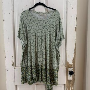 Logo Shades of Green Floral Top with Pocket 3X